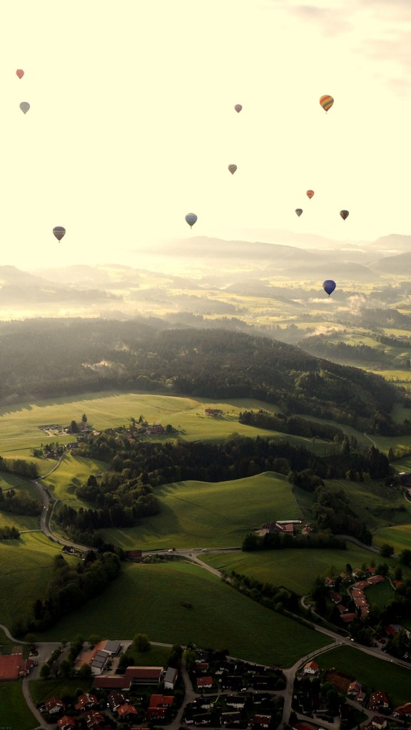 Balloon Party Sky Town Android Wallpaper