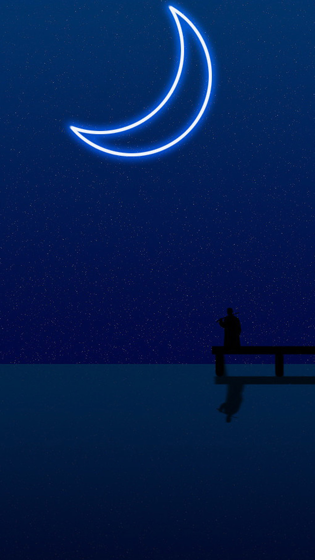 Night Moon Lake Smartphone Wallpaper HD